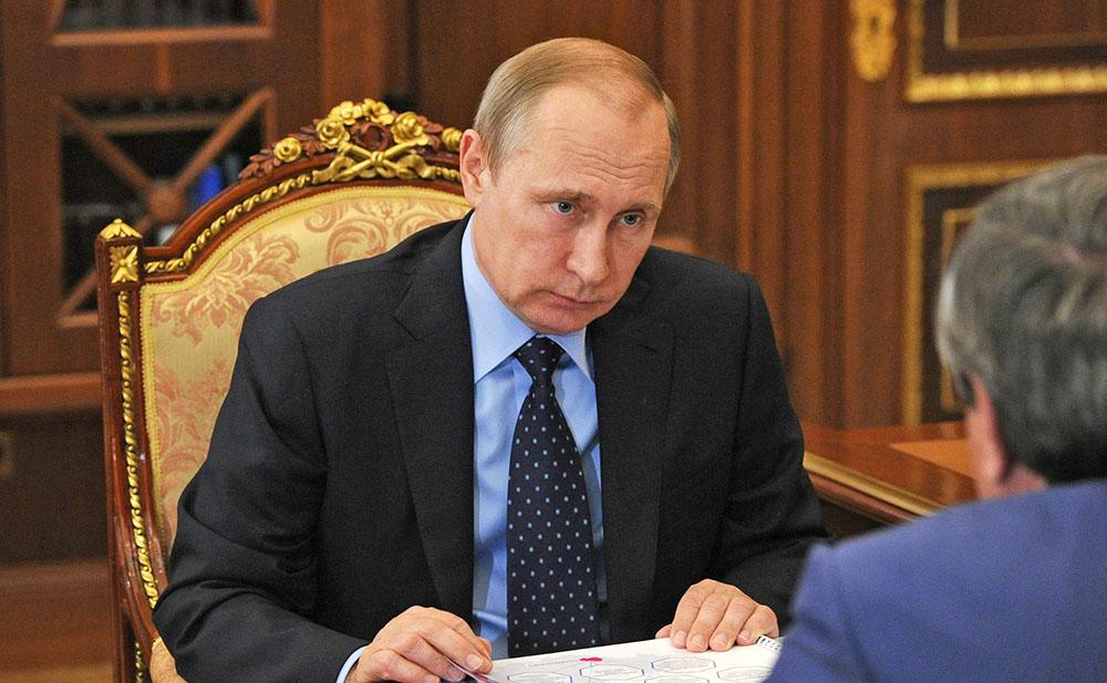 Президент России Владимир Путин и губернатор Новосибирской области Владимир Городецкий