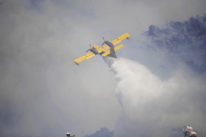 Самолет во время тушения лесного пожара в провинции Измир, Турция