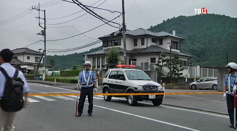 Полиция на месте происшествия в Японии