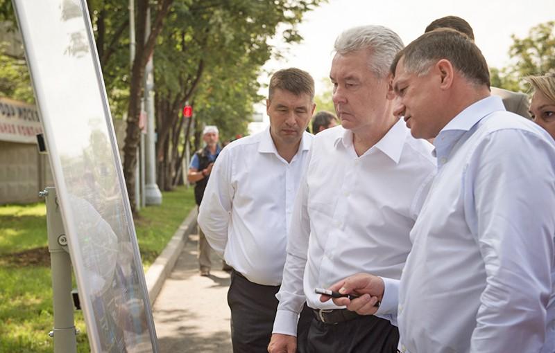 Сергей Собянин на открытии путепровода через пути Павелецкого направления МЖД