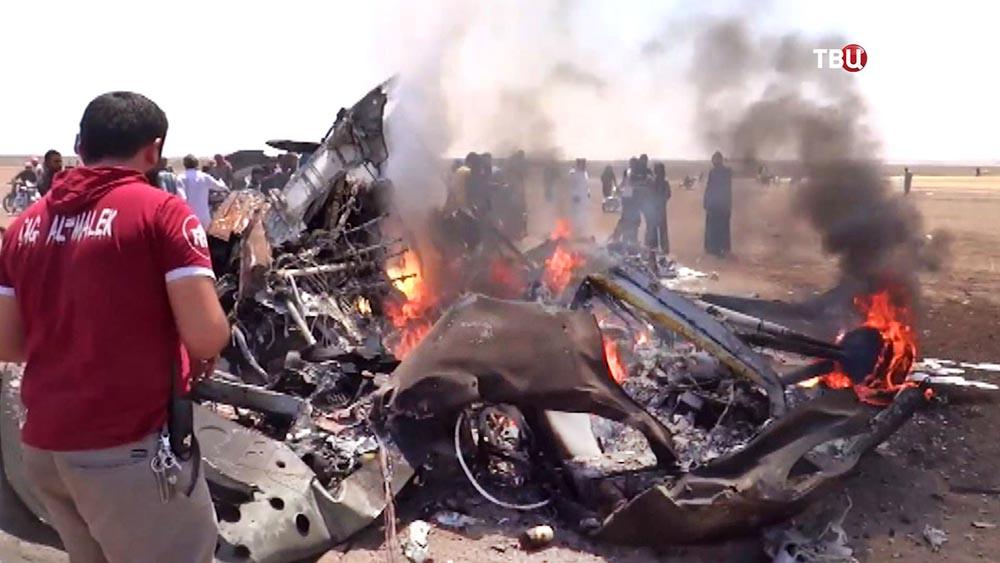 Место крушение вертолета ВКС России в Сирии