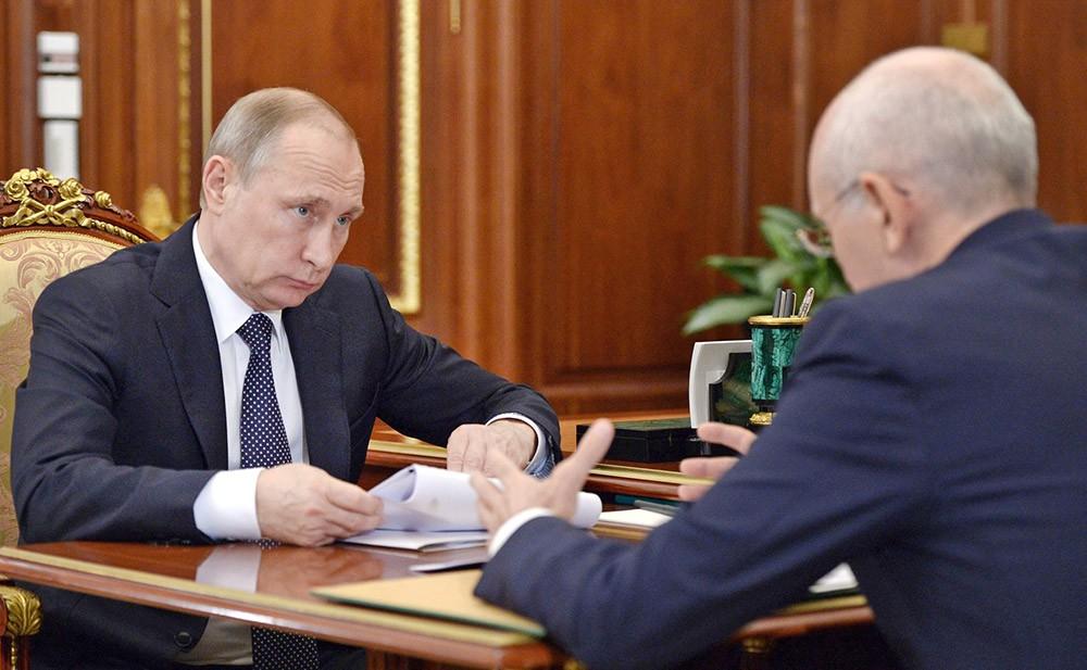 Президент России Владимир Путин и глава Республики Башкортостан Рустэм Хамитов