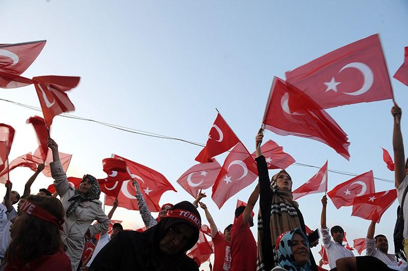 Массовая акция в поддержку президента Турции Реджепа Эрдогана