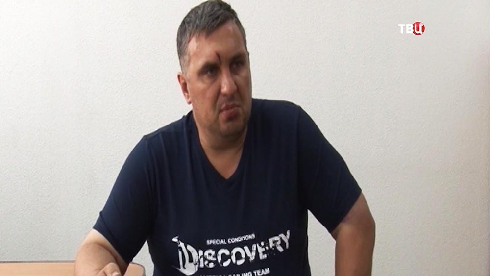 Сотрудник ГУР министерства обороны Украины  Евгений Панов во время допроса