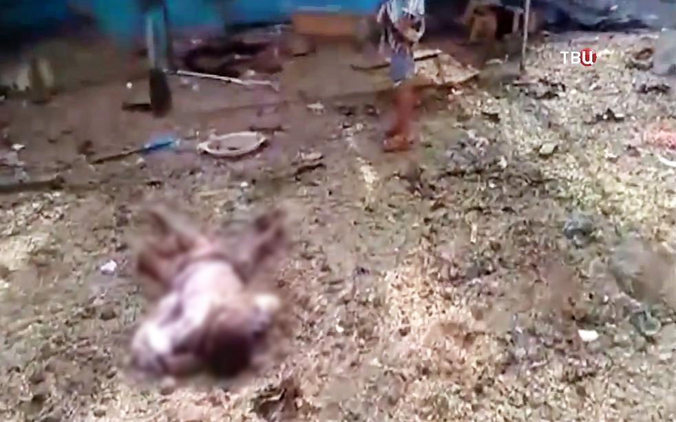 Последствия авиаудара в Йемене