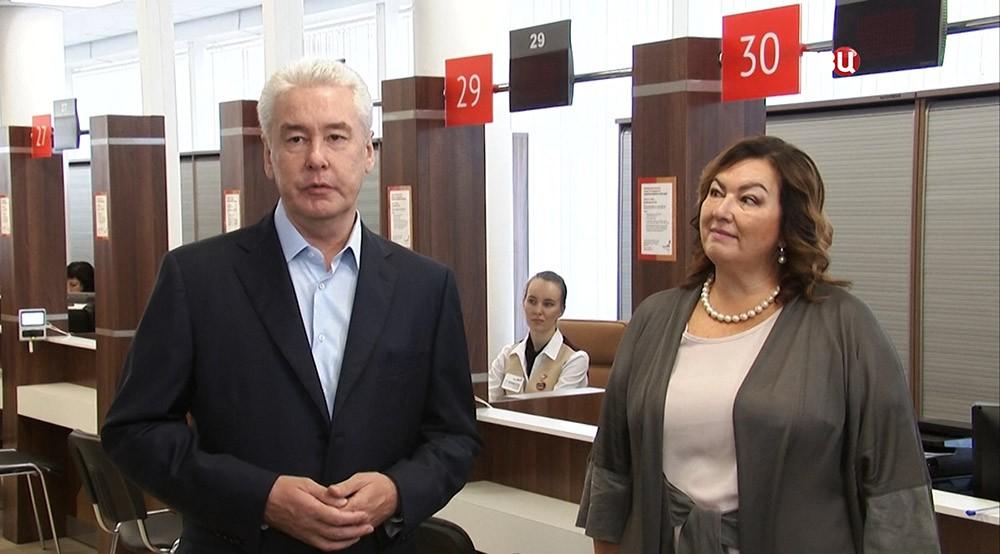 Мэр Москвы Сергей Собянин во время открытия МФЦ в Сокольниках