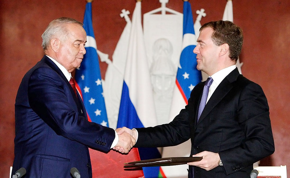 Президент Узбекистана Ислам Каримов и президент России Дмитрий Медведев