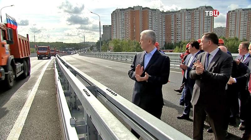 Сергей Собянин на открытии движения по эстакаде прямого хода по улице Липецкая