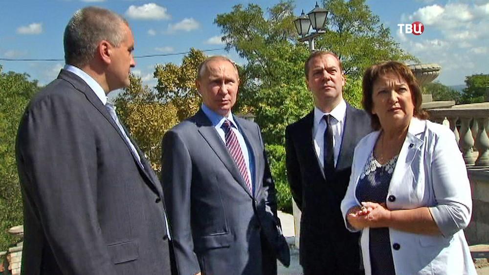Владимир Путин, Дмитрий Медведев и Сергей Аксенов