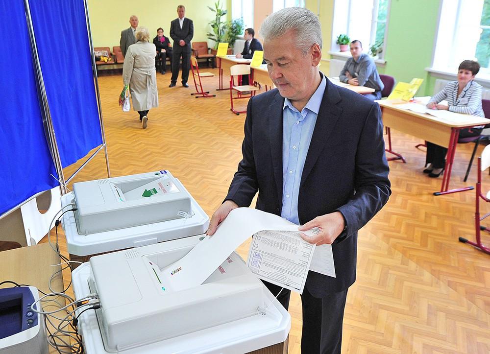 Сергей Собянин голосует на выборах