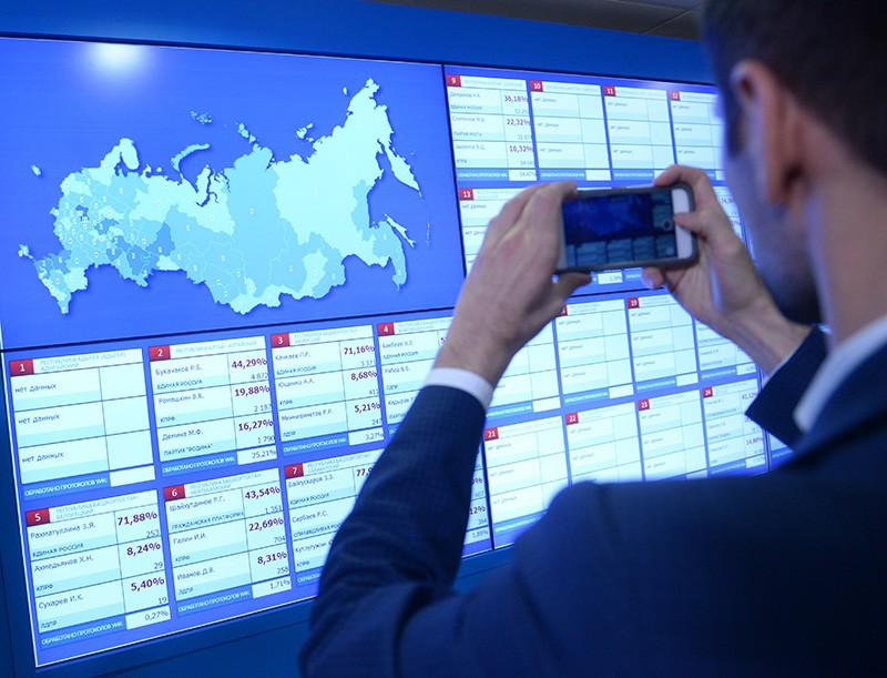 Информационные экраны в Центральной избирательной комиссии в единый день голосования