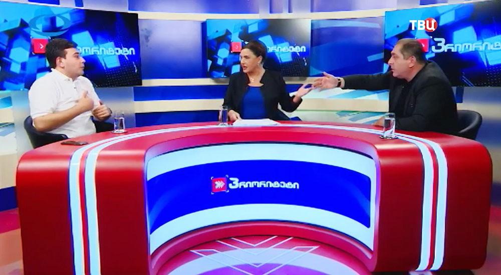 Кандидаты в депутаты национального парламента Грузии во время прямого эфира