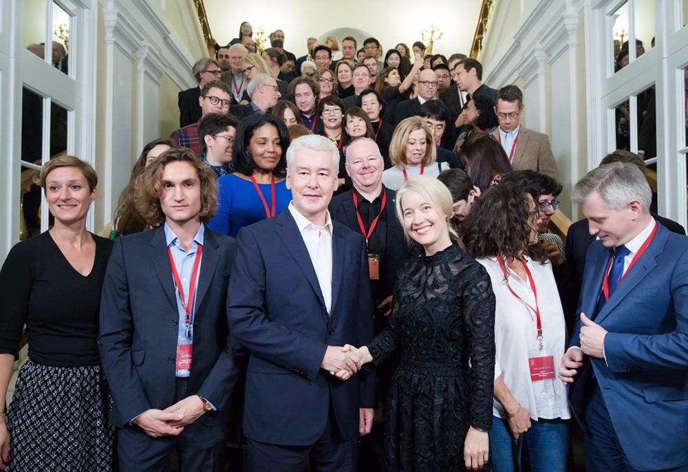 Сергей Собянин с участниками Московского саммита Культурного форума мировых городов