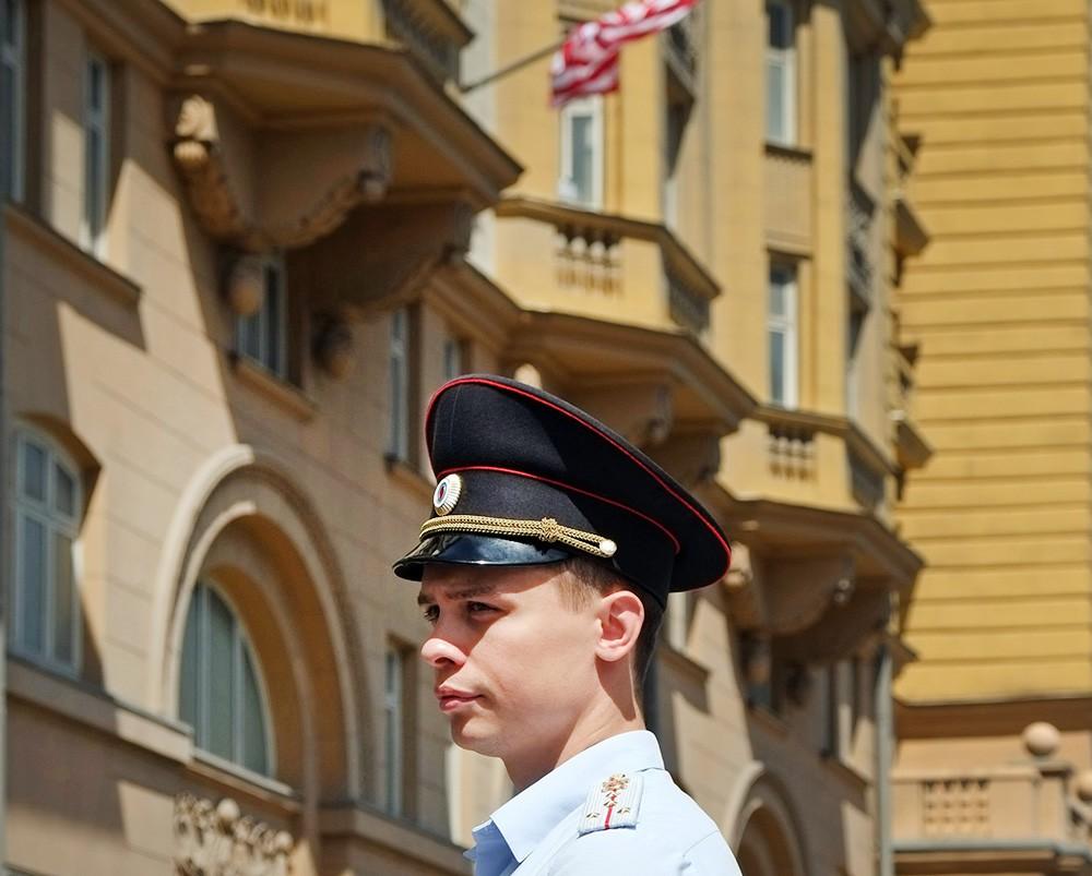 Полиция у посольства США в Москве