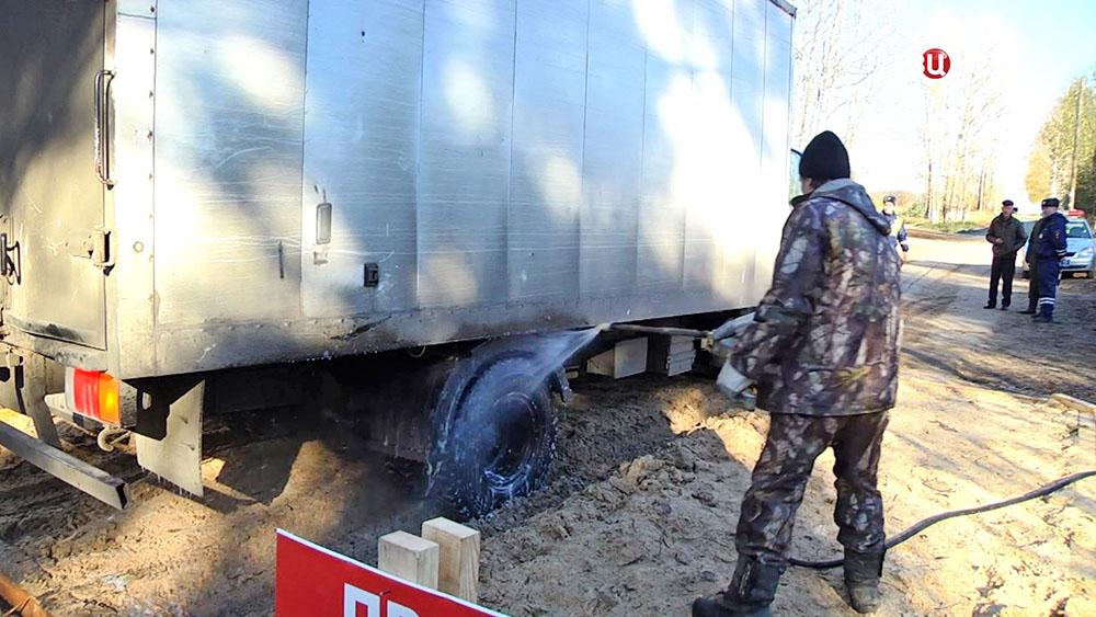Санитарная обработка в зоне карантина