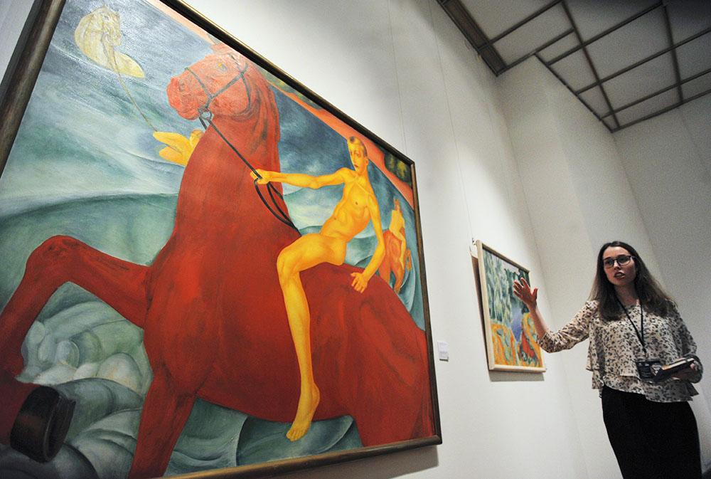 """Картина """"Купание красного коня"""" Кузьмы Петрова-Водкина в Третьяковской галереи"""