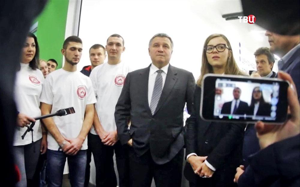 Глава МВД Украины Арсен Аваков и заместитель Анастасия Деева