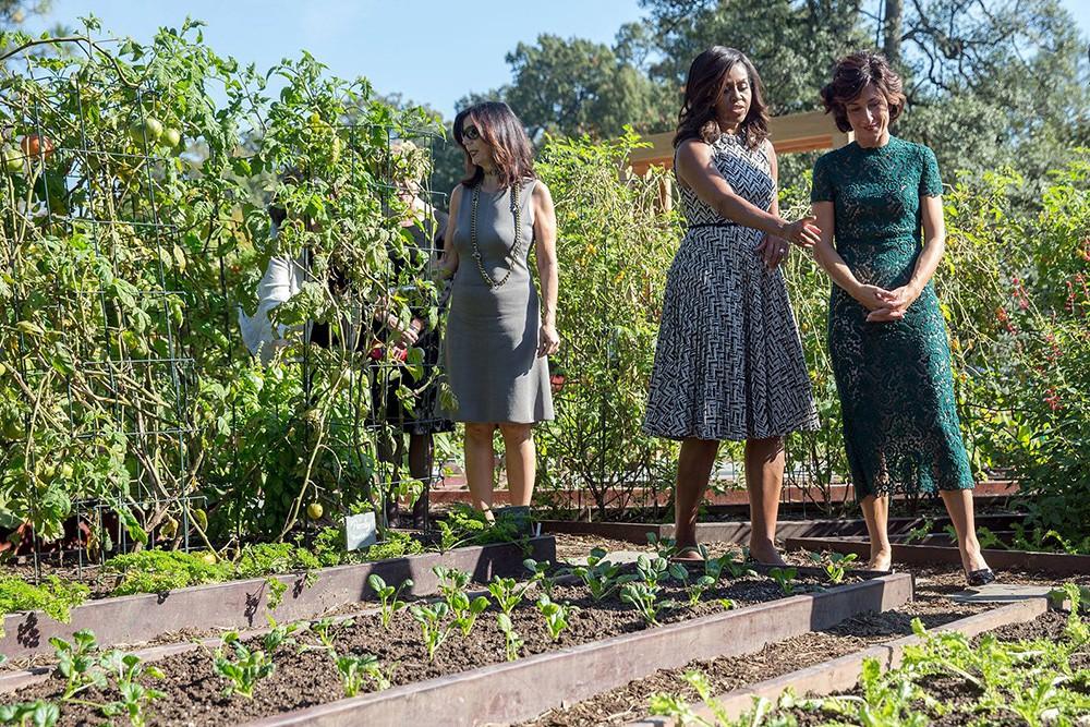 Мишель Обама показывает свой огород у Белого дома