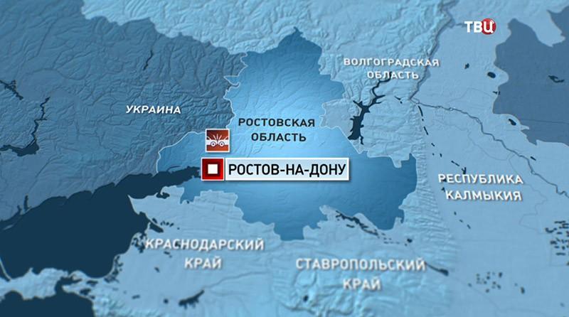 Место ДТП с участием автобуса под Ростовом