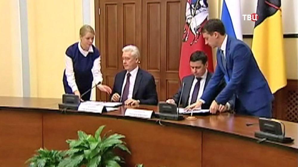 Мэр Москвы Сергей Собяни и врио губернатора Ярославской области Дмитрий Миронов
