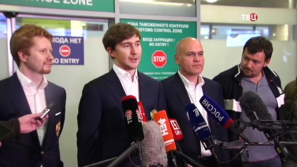 Гроссмейстер Сергей Карякин дает интервью