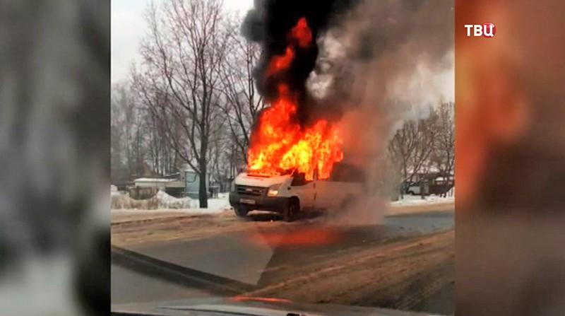 Возгорание маршрутного микроавтобуса