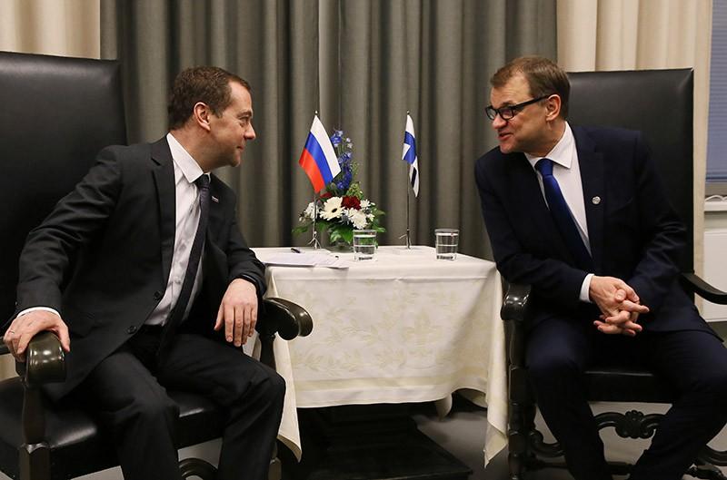 Председатель правительства РФ Дмитрий Медведев и премьер-министр Финляндии Юха Сипиля