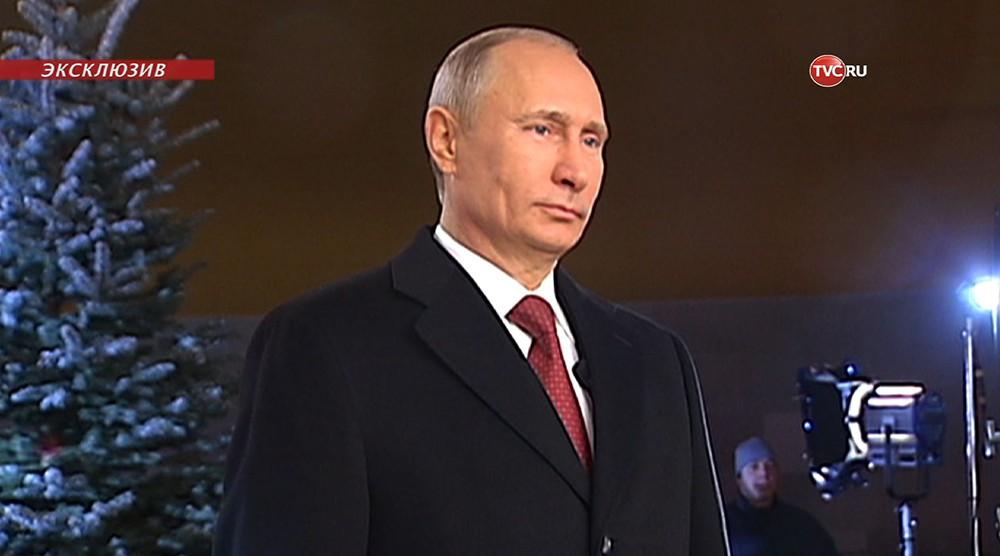 Владимир Путин во время записи новогоднего обращения