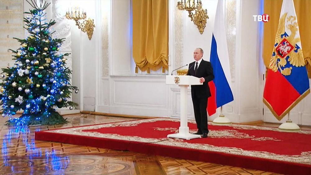 Владимир Путин на праздничном приеме в Кремле