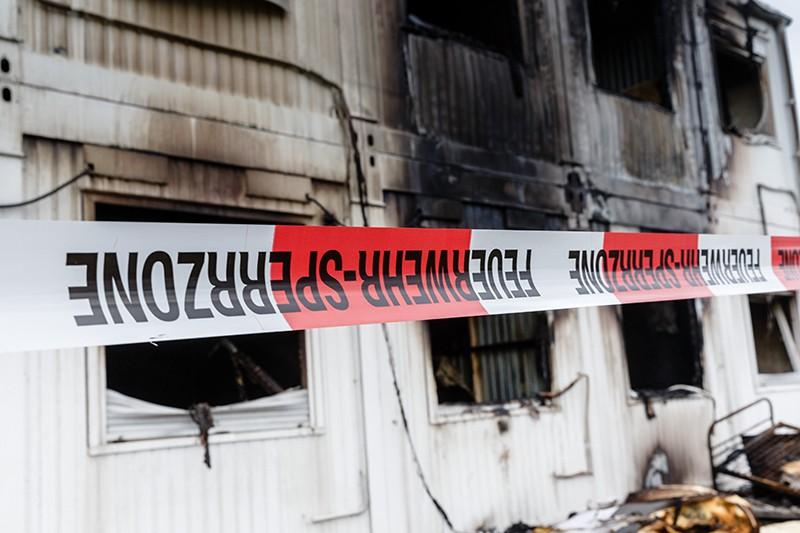 Сгоревший приют для беженцев в Германии
