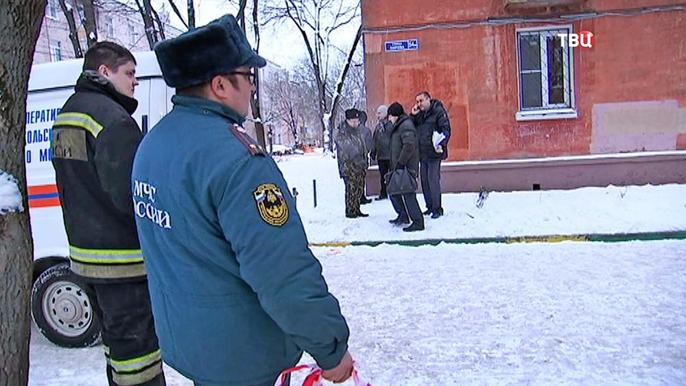 Экстренные службы на месте утечки газа в Подольске