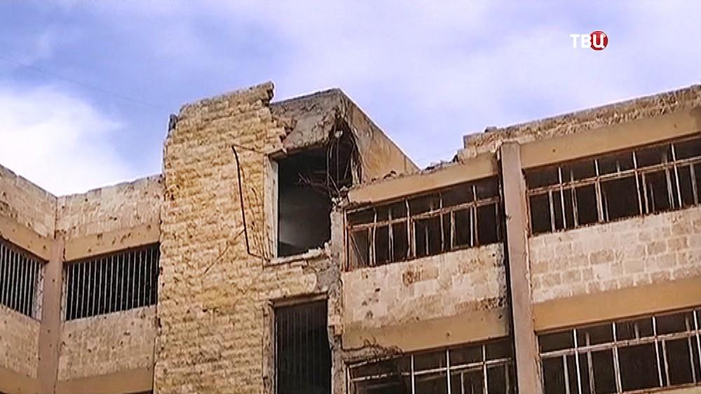 Последствия обстрела школы в Сирии