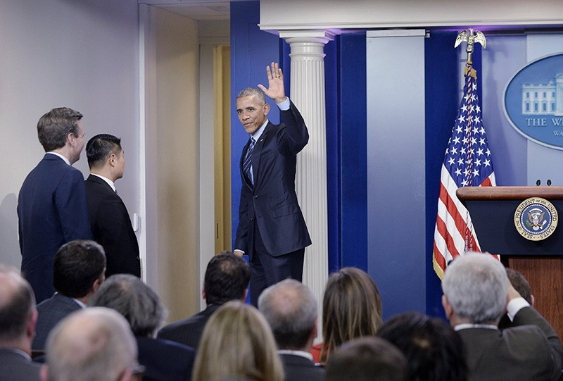 Президент США Барак Обама во время пресс-конференции