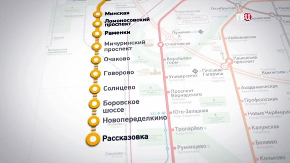 """Станция метро """"Рассказовка"""" на карте"""