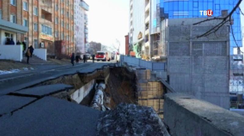 Обвал грунта во Владивостоке