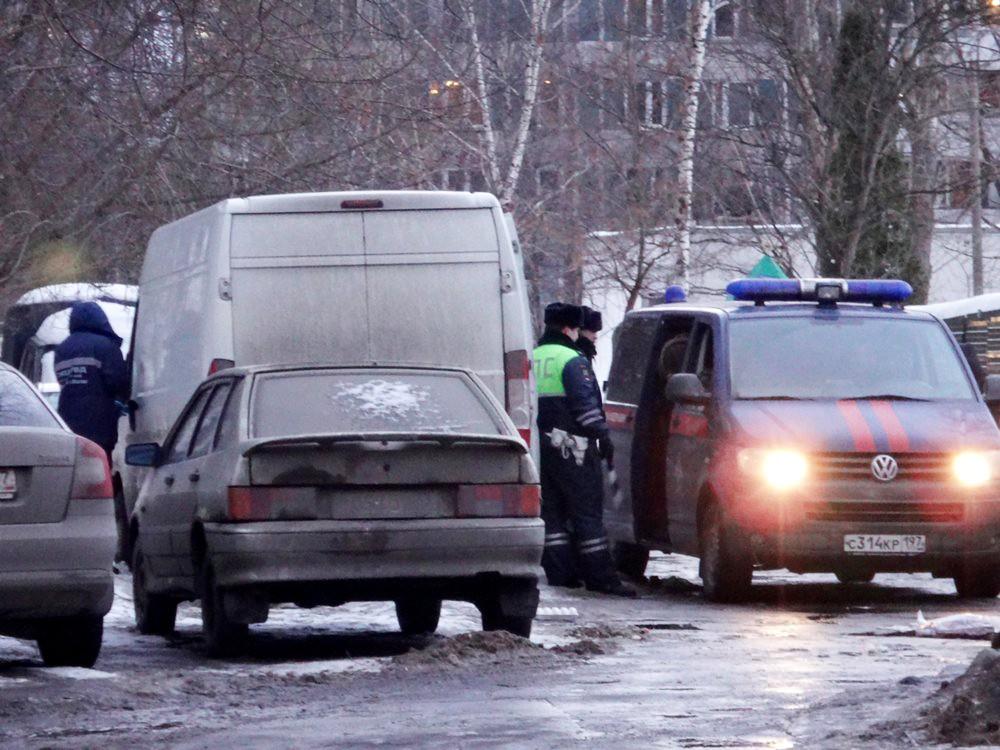 Автомобиль СКР месте нападения на инкассаторов