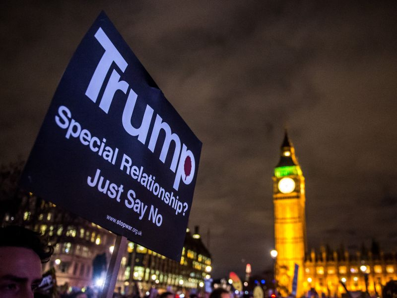 Акция протеста против визита Дональда Трампа