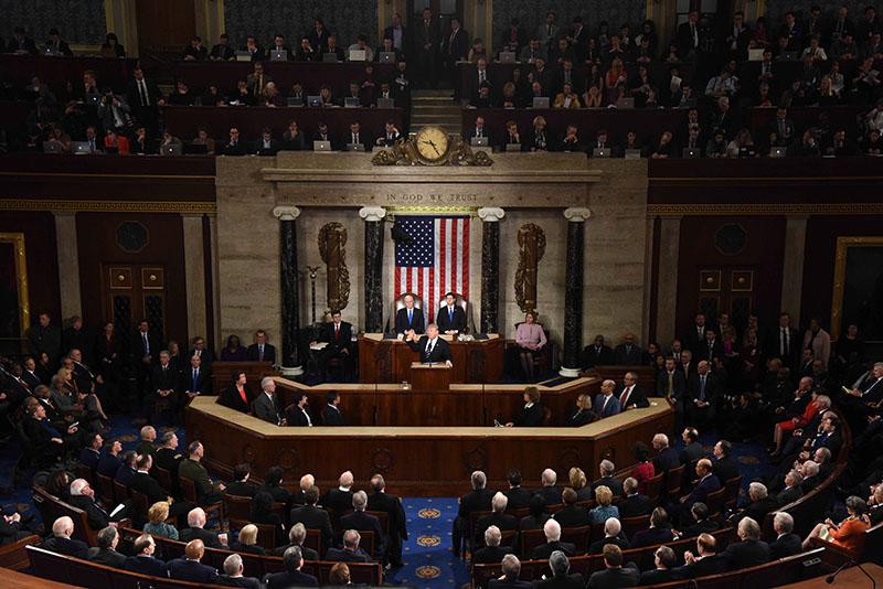 Президент США Дональд Трамп выступает перед Конгрессом