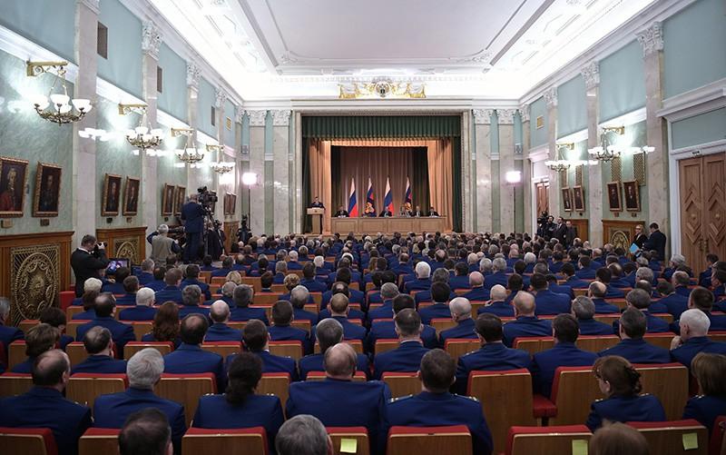 Президент России Владимир Путин на заседании итоговой коллегии Генпрокуратуры