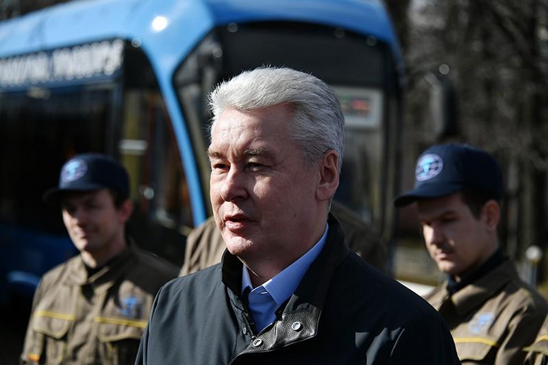 Мэр Москвы Сергей Собянин во время посещения трамвайного депо имени Баумана в Москве