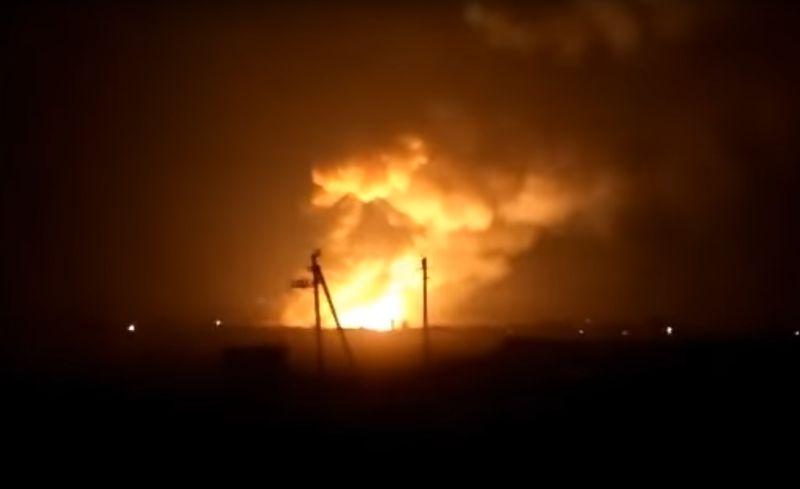 Пожар на военном складе под Харьковом