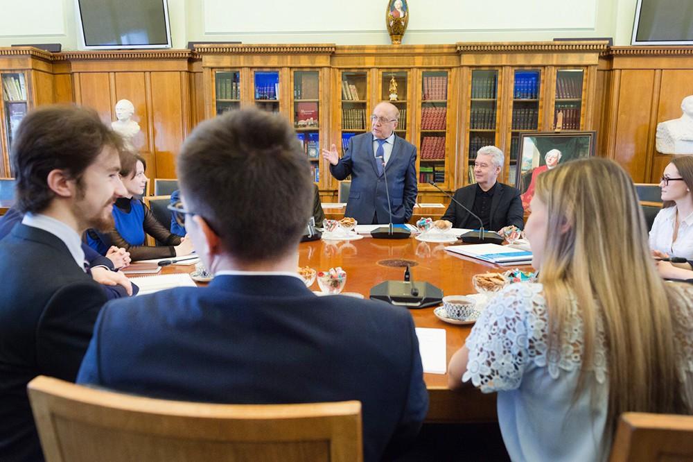 Сергей Собянин и Виктор Садовничий на встрече со студентами МГУ