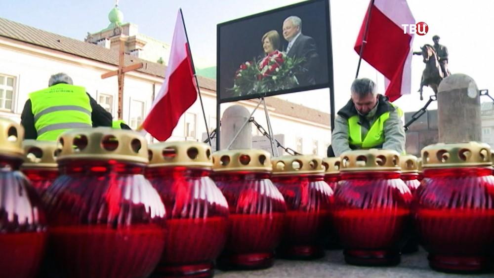 Траурное мероприятие, посвященное годовщине со дня авиакатастрофы польского самолета Ту-154 под Смоленском