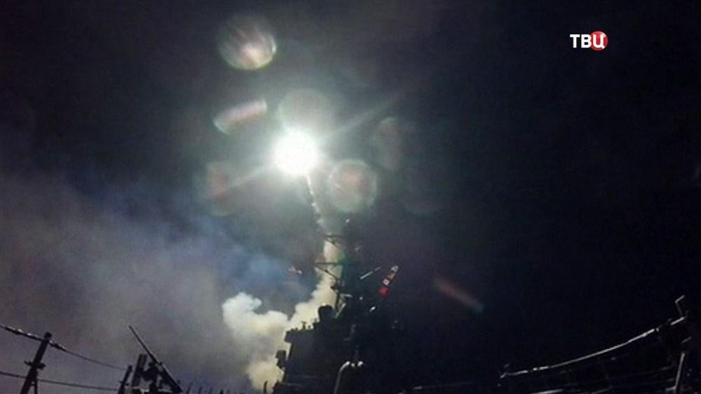 Нанесение ракетного удара США по авиабазе в Сирии