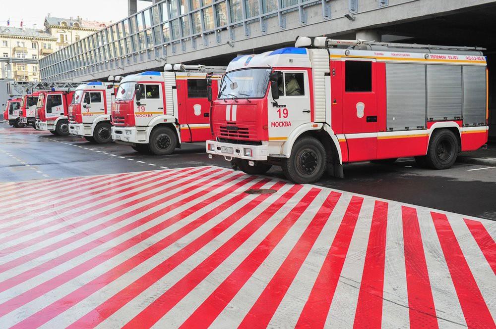 Пожарные машины у стадиона ЦСКА