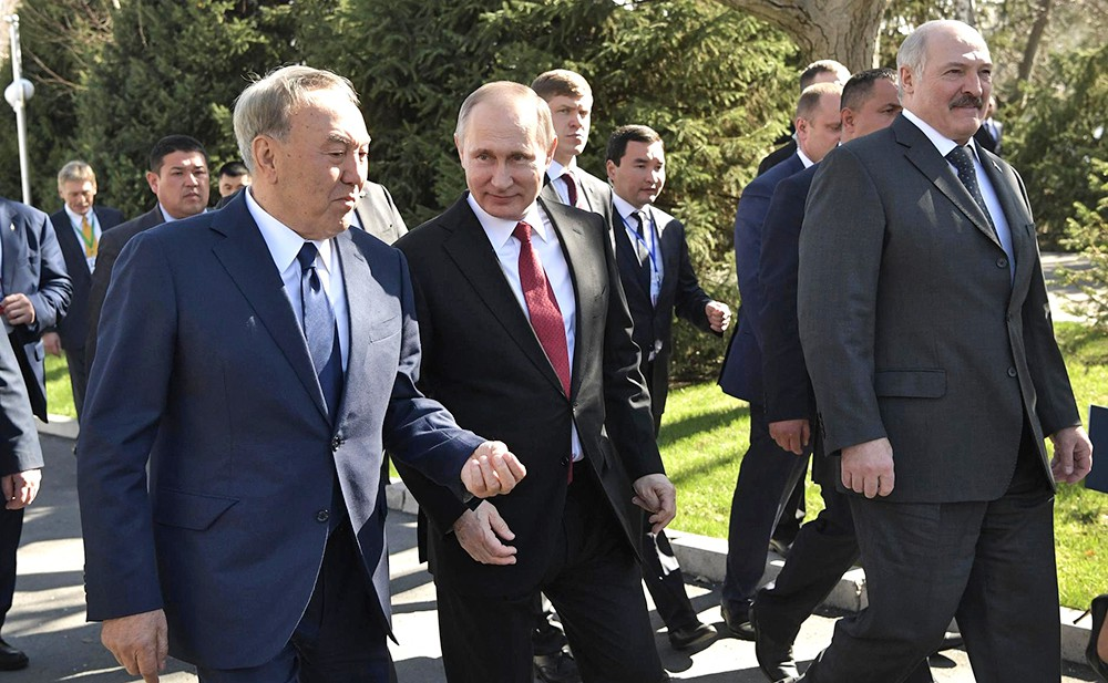 Нурсултан Назарбаев, Владимир Путин и Александр Лукашенко