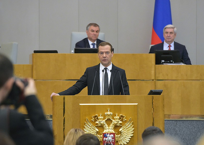 Председатель правительства России Дмитрий Медведев выступает в Госдуме