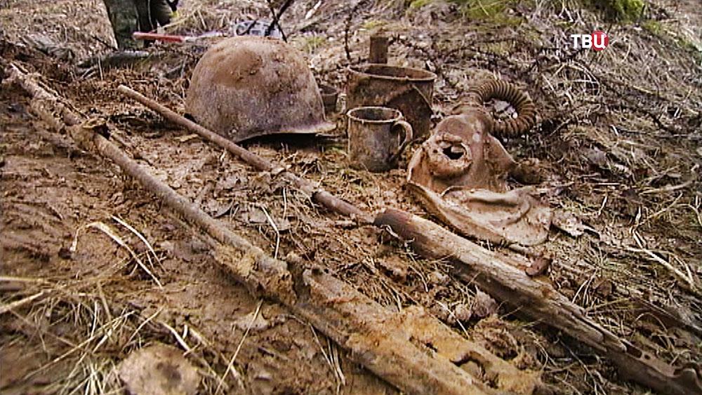 Находки Второй мировой войны на месте раскопок
