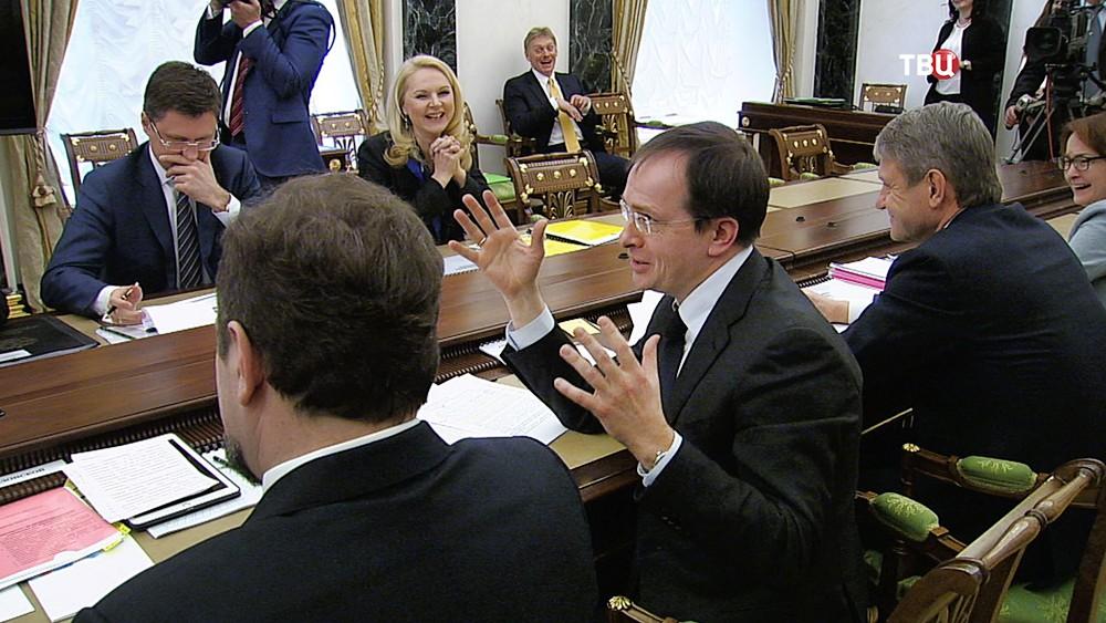 Владимир Мединский на совещании в Кремле