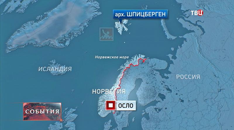 Карта Норвегии